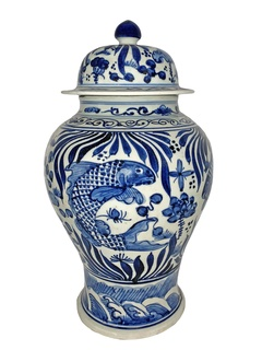 Oriental Porcelain Blue and White Jar with Koi Fish