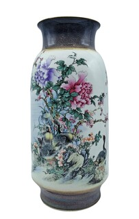 Oriental Porcelain Vase with Flowers and Birds
