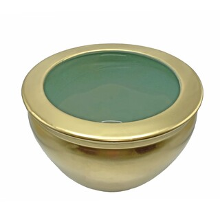 Chinese Porcelain Fishbowl Planters in Gold and Celadon