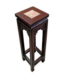Oriental Plant Stand With Marble Top 24 in Height