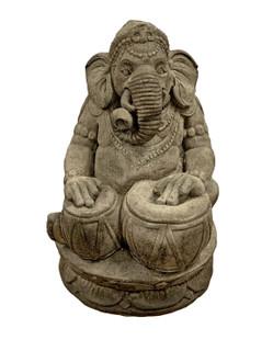 Stone Ganesha Meditating Garden Statue