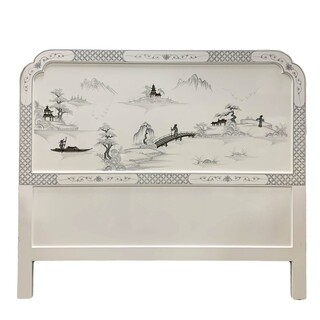Oriental Headboard with Mountain Landscape