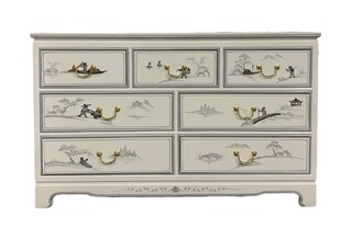 Oriental Dresser Hand Painted Mountain Scenery