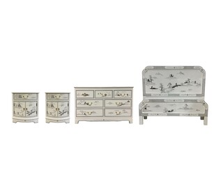 Oriental Bedroom Set Hand Painted with Landscape Design