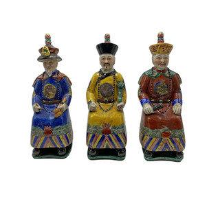 Three Sitting Sovereigns Chinese Porcelain Figurines