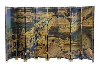 Large Oriental Wooden Screen River Town Painting