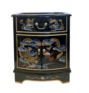 Oriental Black Lacquer Nightstand with Dragons Design