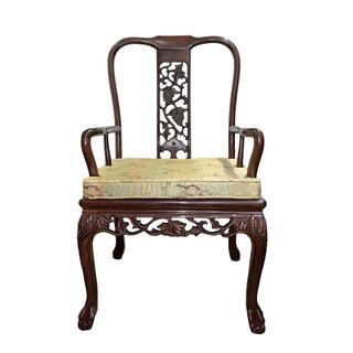Oriental Rosewood Armchair Carved Grape Motif