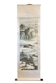 Oriental Silk Scroll Landscape