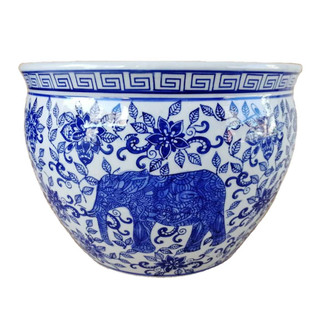 Blue And White Porcelain Fishbowl With Elephant Design