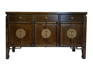 Ming Style Six Door Buffet Cabinet with Key Carving