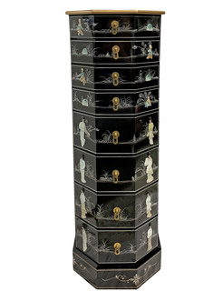 Asian Mother of Pearl Pedestal With Drawers