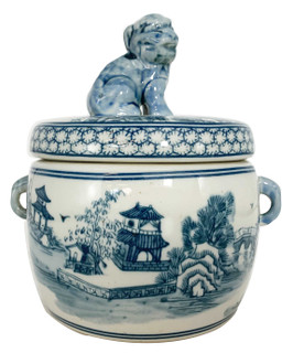Blue and White Porcelain Asian Candy Jar with Food Dog Lid
