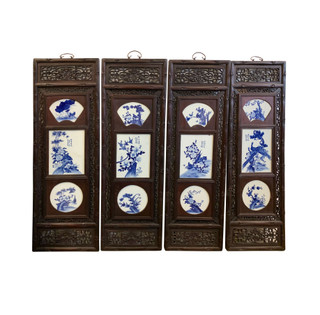 """48"""" High Wall Plaque with Inlay Porcelain Scenery Set of Four"""