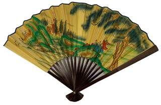 Oriental Fan With Hand Painted Design