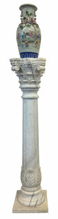 White Hand Carved Marble Column