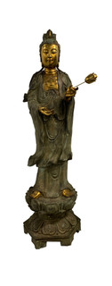 Oriental Bronze Goddess of Compassion Statue 62 Inches High