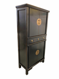 """59""""H Chinese Chest On Chest Finished In Black Lacquer"""