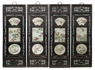 """48"""" High Wall Plaque with Inlay Porcelain Set of Four"""