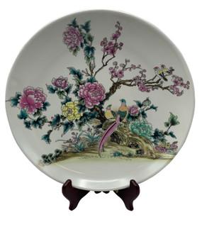 "14"" Asian Plate Bird and Flower Porcelain Plate"