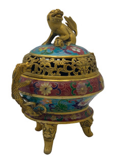 Chinese Incense Bowl With Foo Dog Lid