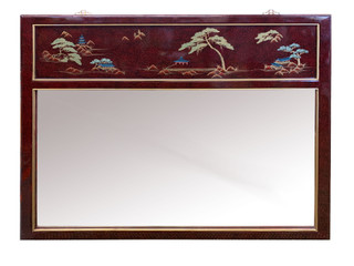 Asian French Red Landscape Mirror