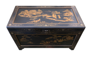 Matte Finish Trunk With Hand Painted Landscape