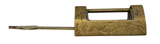 Brass Engraved Lock and Key