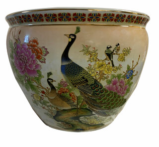 "18"" Japanese Yellow Satsuma Peacock Planter"