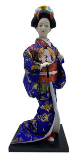 "12""H.Dancing Japanese Geisha Doll With Fan In Blue Kimono"
