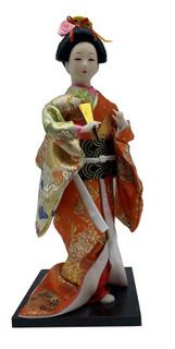 "12""h.dancing Japanese Geisha Doll with Gold Fan in Orange Kimono"