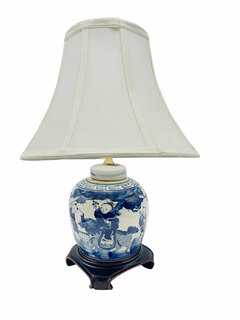 Blue And White Oriental Porcelain Ginger Jar Table Lamp