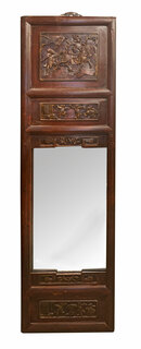 Hand Carved Antique Rosewood Inlaid Mirror