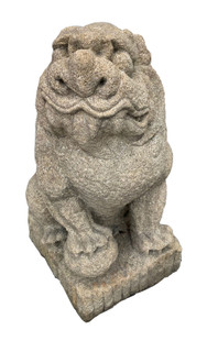 Fu Dog With Paw On Ball Granite Statue