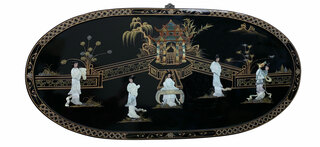 Palace Scenery Oval Wall Plaque With Mother of Pearl