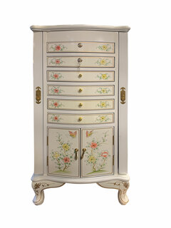 Oriental Jewelry Armoire With Double Locking Drawers