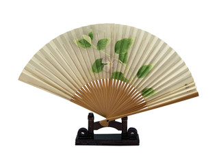 Floral Hand Fan with Stand