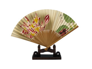 Oriental Floral Hand Painted Fan With Stand