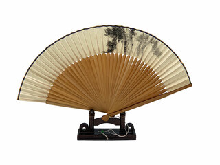 Asian Hand Fan With Stand
