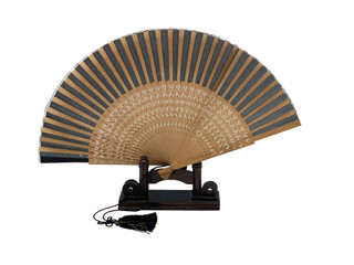 Oriental Hand Fan With and Carving and Stand