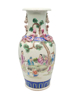 Antique Reproduction of Multi Color Chinese Scenery Porcelain Vase