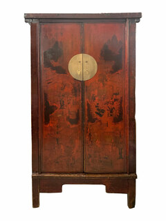 Chinese Antique Armoire Red Hand Painted Landscape