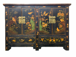 Hand Painted Bird and Floral Cabinet