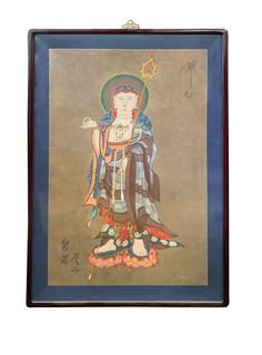 Oriental Hand Painted Buddha Wall Panel