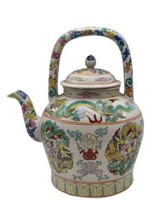 Oriental Hand Painted Porcelain Tea Pot