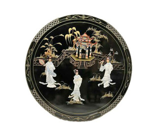 Oriental Art Round Painting in Lacquer and Inlaid