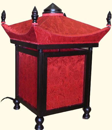 Superieur Lamp In Long Life Chinese Silk With Embroidered Pagoda 17u0027u0027H   Oriental  Furnishings: Furniture U0026 Decor