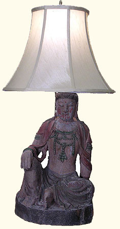 Lamp In Asian Antique Wooden Buddha Statue 27 H