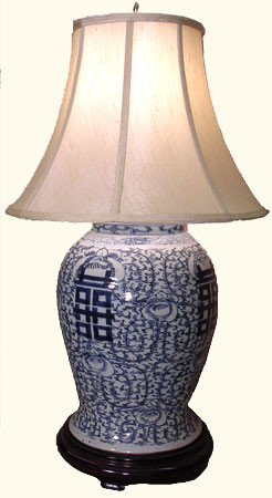 Antique design, hand painted fine quality porcelain  blue and white lamp