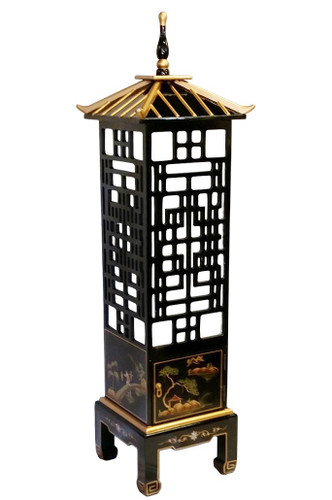 Wooden Lacquer Pagoda Lamp